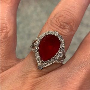 Jewelry - Red 4ct Pear Sterling Silver Engagement Ring